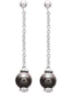 Boucles d'oreilles Argent Rhodie Hematite