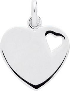 Pendentif coeur argent rhodié