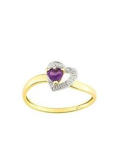 Bague Coeur Or Améthyste et Diamant