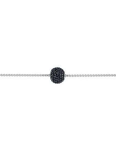Bracelet argent et cristal noir